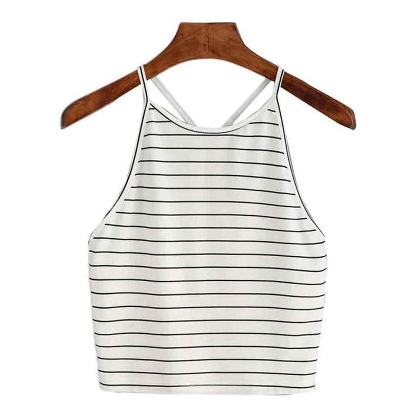 853f5a4981 GAOKE Striped Vest Women Summer Camis Tops Female Halter Top Busic Camisole  T Shirts Colete Feminino De Inverno Blusa Veludo Online with $24.44/Piece  on ...