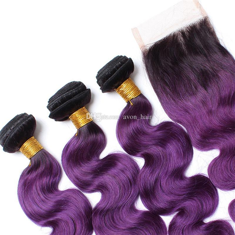 Good Quality Ombre Purple Human Hair 3 Bundles With Lace Closure 4x4 Dark Roots 1B Purple Body Wave Hair Weaves With Top Closure