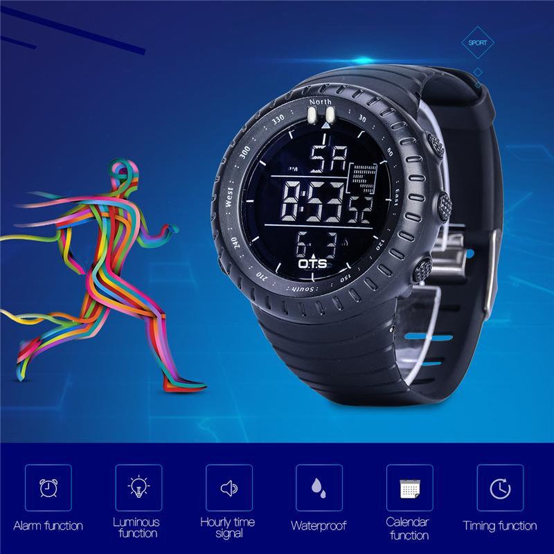02a89d9a85ef Compre O.T.S Sport Digital Waterproof Reloj Luminoso LED Relogio Masculino  Eletronicos Relojes De Pulsera Con Alarma Mens Cronómetro 50 A  20.51 Del  ...