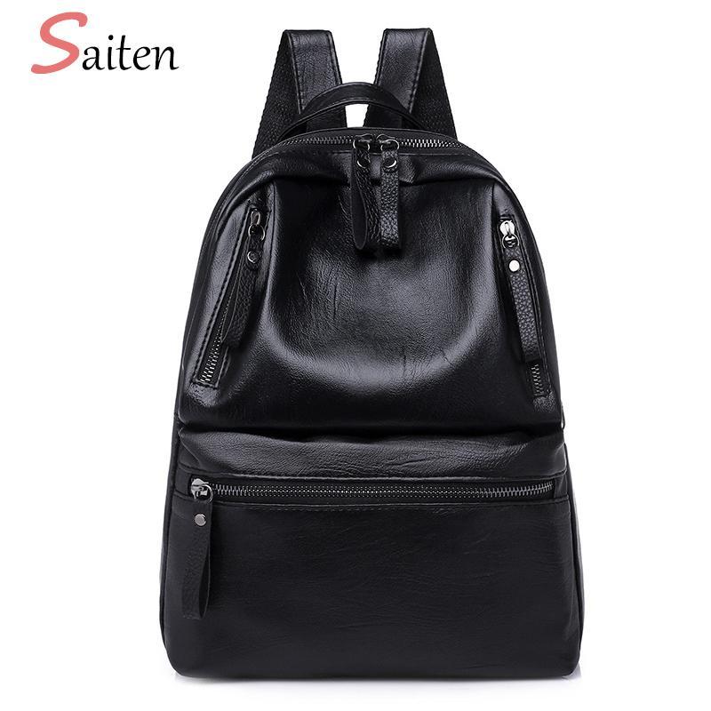 405397da97 2019 New PU Leather Women Backpacks Large Capacity School Bags For Teenager  Girls Fashion Solid Backpack Female Black Rucksacks 2018 Waterproof Backpack  ...