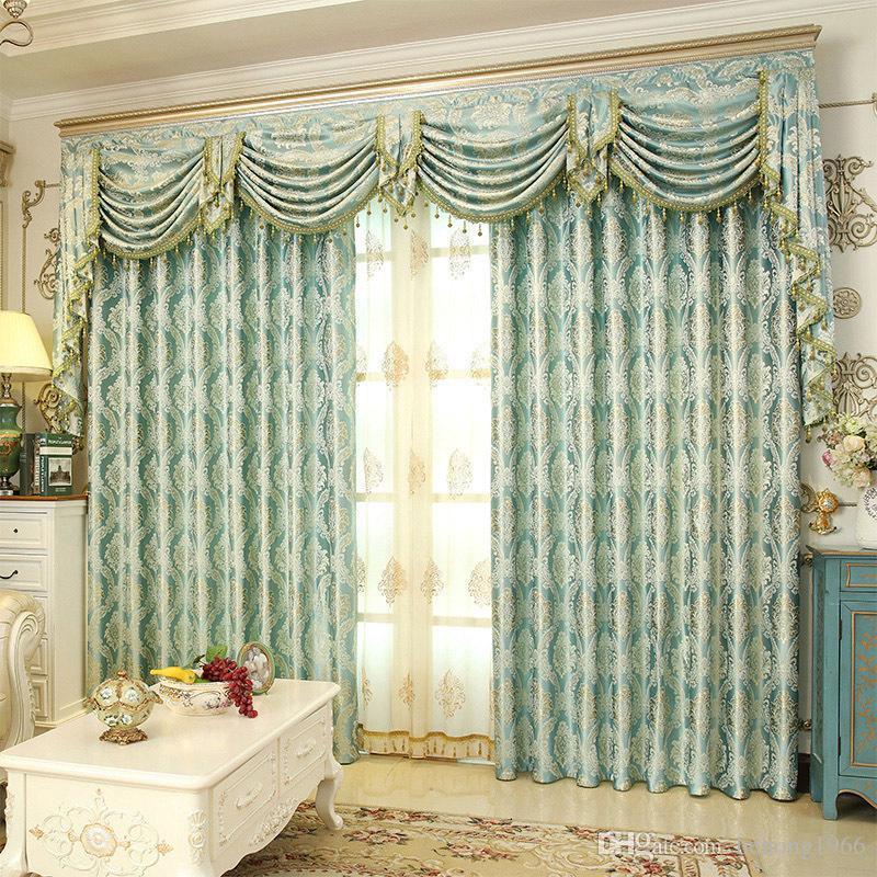 Romantico Royal Luxury Window Tende Camera da letto Soggiorno Estraibile  Elegante Tende Cripta crittografia Tessuto Jacquard di seta dorata 23 lg KK