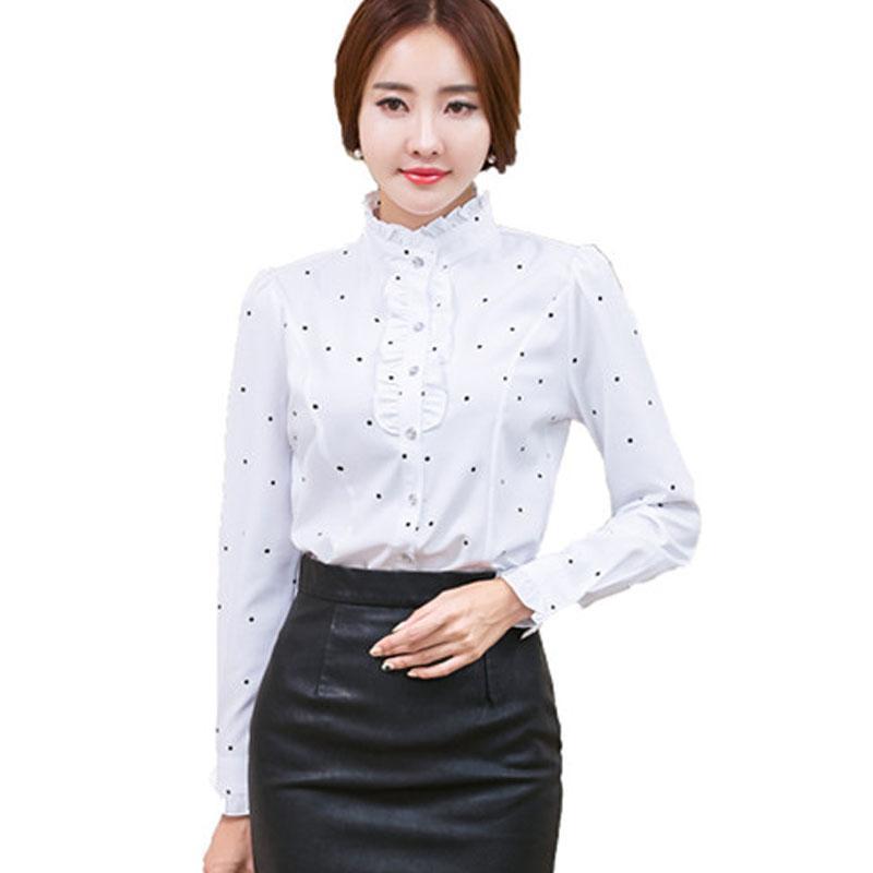 9a26244cf Plus Size 4XL 5XL Formal Shirt Women Clothes Long Sleeve Stand ...