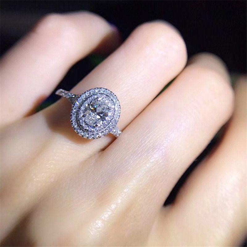 El yapımı Lady 100% Topraklar 925 Ayar gümüş yüzük Oval kesim 0.6ct Sona 5A Cz Nişan düğün band yüzük kadınlar takı için