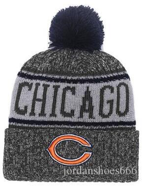 8621e21cafc046 2019 Winter Hat CHICAGO Beanie Stripes Sideline Cold Weather Sport Knit Hat  Wool Bonnet Warm TD Graphite Official Reverse Cap Beanies From  Jordanshoes666