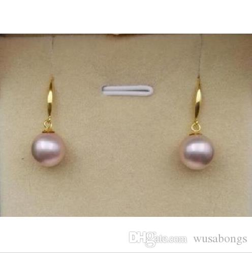 charming 10-11mm south sea natural round lavender pearl earring yellow gold