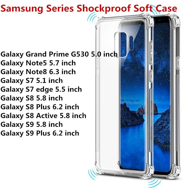 timeless design 1cee5 53f36 For Samsung Galaxy S9 S9 Plus S8 Active S8 S8 Plus S7 S7 edge Note 5 Note 8  Grand Prime Transparent Anti-knock Clear Shockproof Soft Case