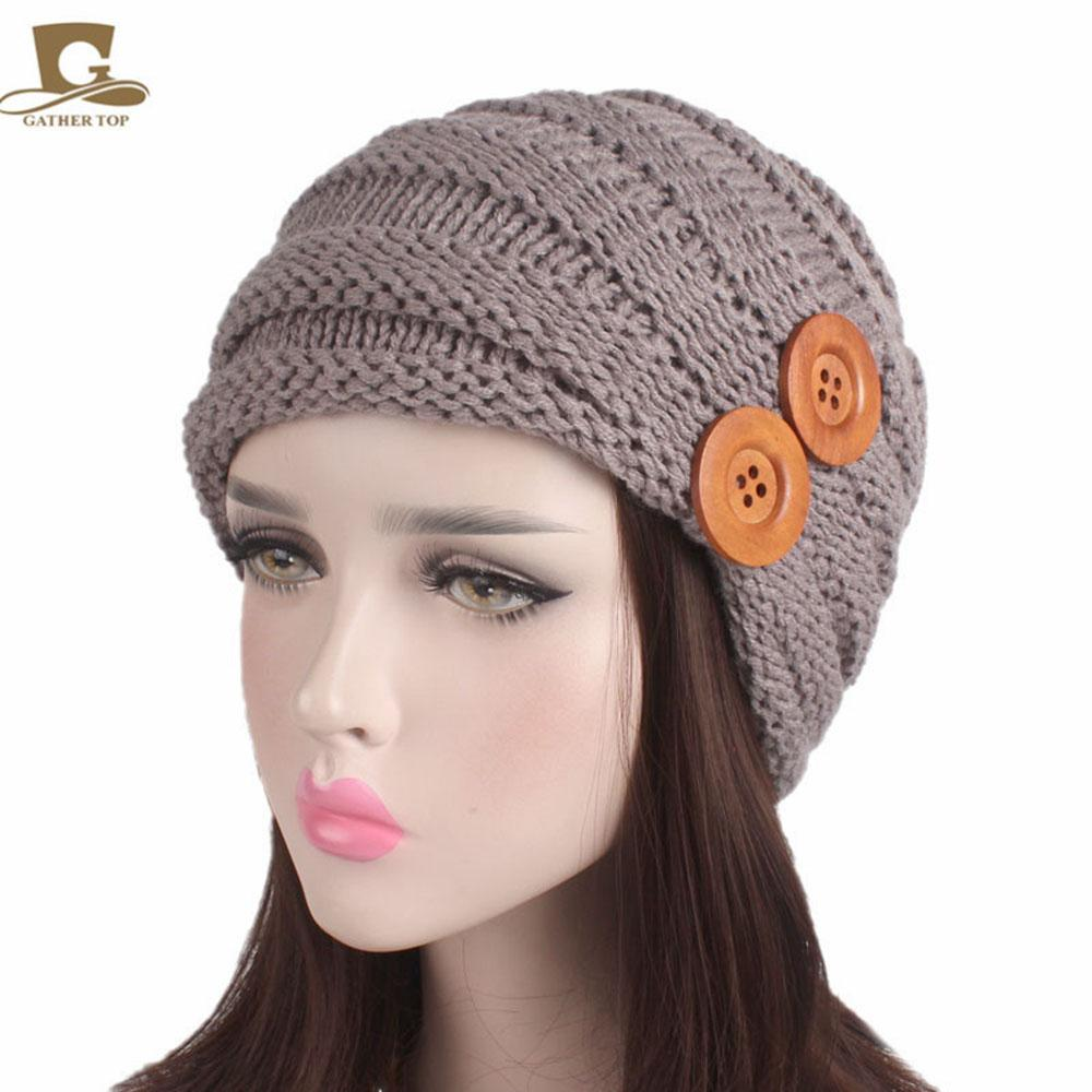 New Messy Bun Beanie Knitted Winter Hat Fold Women Beanie For Lady Crochet  Wood Button Ski Cap Casual Female Baggy Stretch Skull Hats Online Caps From  ... 7db383bc2a7