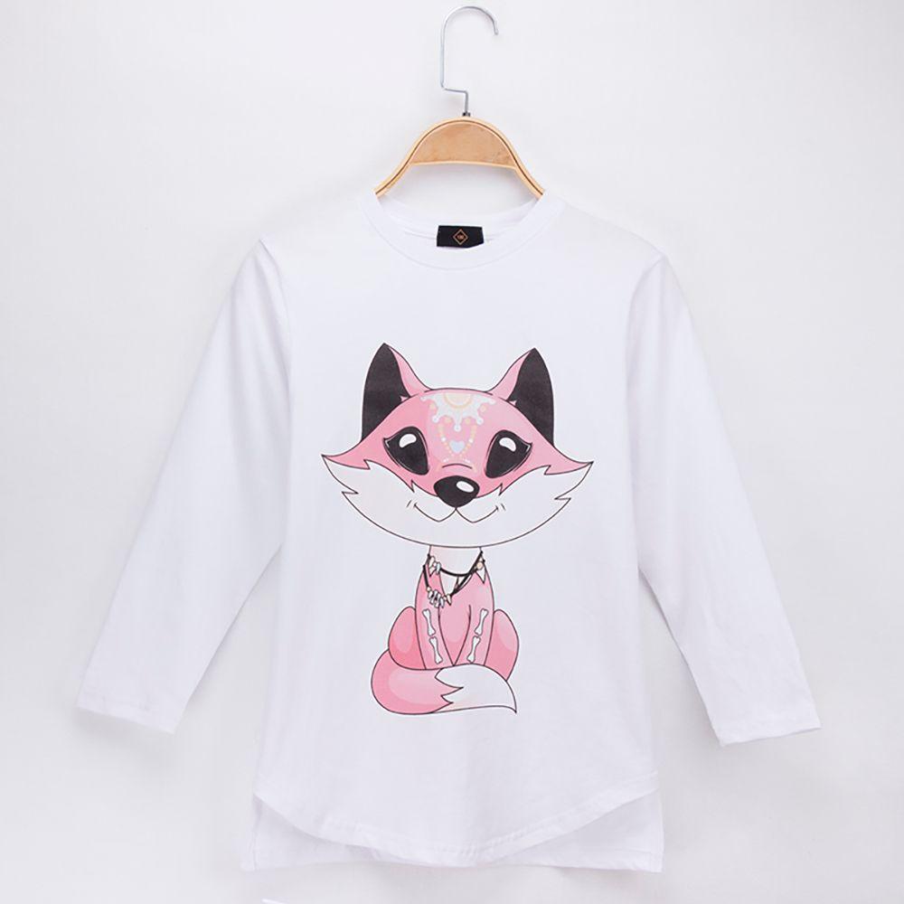 7a80b36b21769 2018 New Spring Autumn Fashion Kids Clothes Girl T-shirts Fox Print 100%  Cotton Full Child Shirts Children Long Sleeve T Shirt Baby Tops Tee