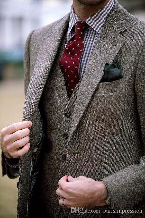 Acquista Autunno Inverno Moda Tweed Groom Tuxedo Eccellente Uomo Giacca  Notch Risvolto A Due Bottoni Uomini Business Dinner Prom Suit Giacca +  Pantaloni + ... b4a7bdb10ae