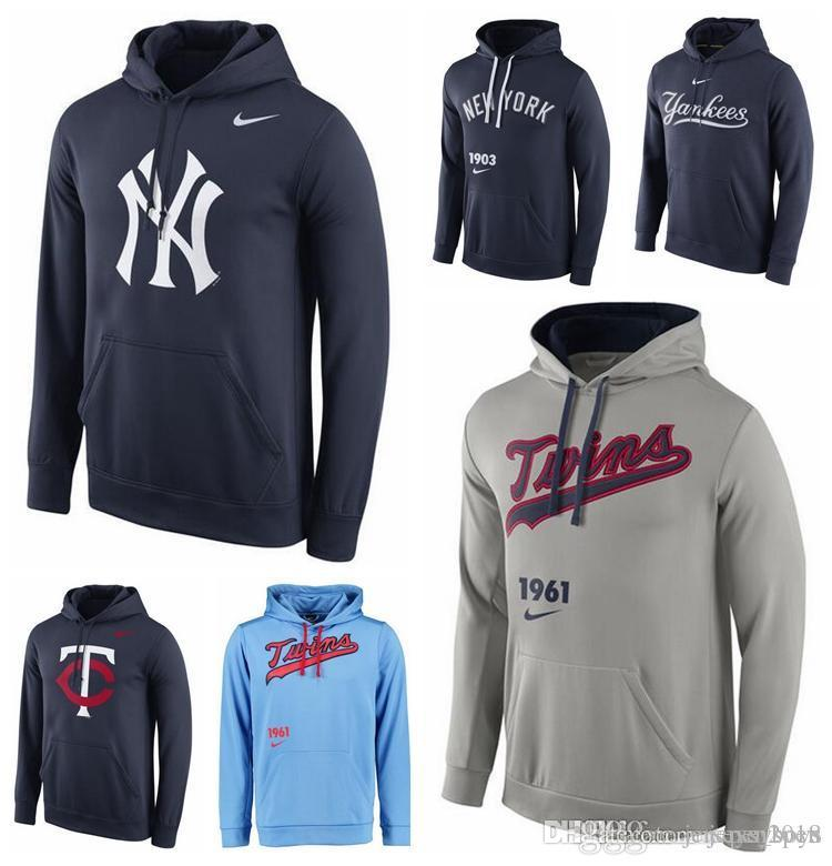 new style 8f654 77bcc Men's New York Yankees Mets Minnesota Twins Black Sky Blue Gray Royal Logo  Performance Pullover Hoodie