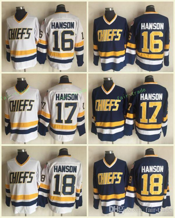 812d34480985c 2019 The Movie Slap Shot Charlestown Chiefs  16 Jack 17 Steve 18 Jeff  Hanson White Blue Hockey Jerseys Stitched From Fair Trade