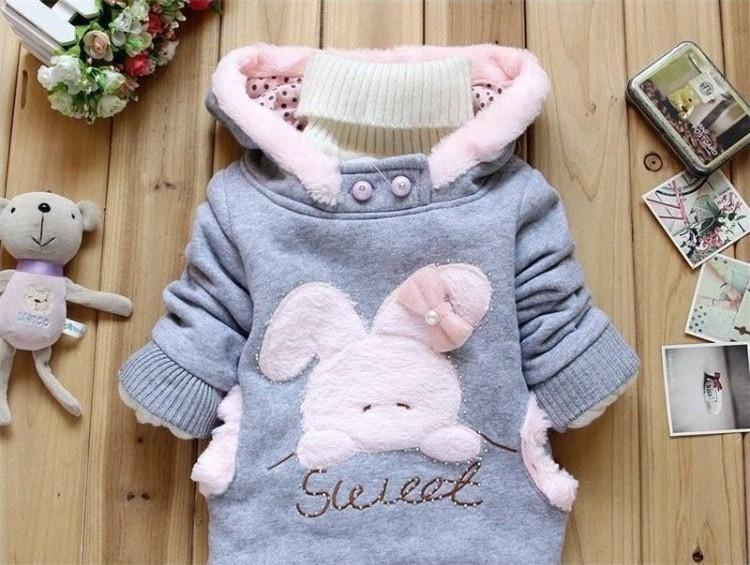 Children Clothing Cartoon Rabbit Fleece Bunny Outerwear Girls Cute Clothes Hoodies Baby Kids Jacket Winter Coat roupa infantil