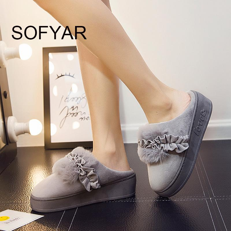household thick cotton slippers women keep warm med heel cotton mop warm home bedroom shoes beautiful lovely plush flower shoes