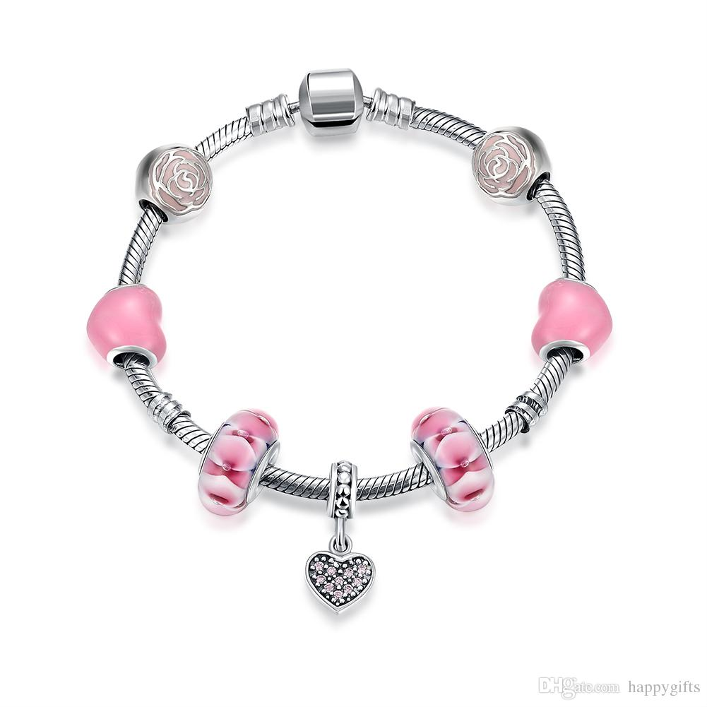 romad charm item body in color from bracelet heart romantic pink winter silver plated shaped friendship bangle fashion bracelets jewelry