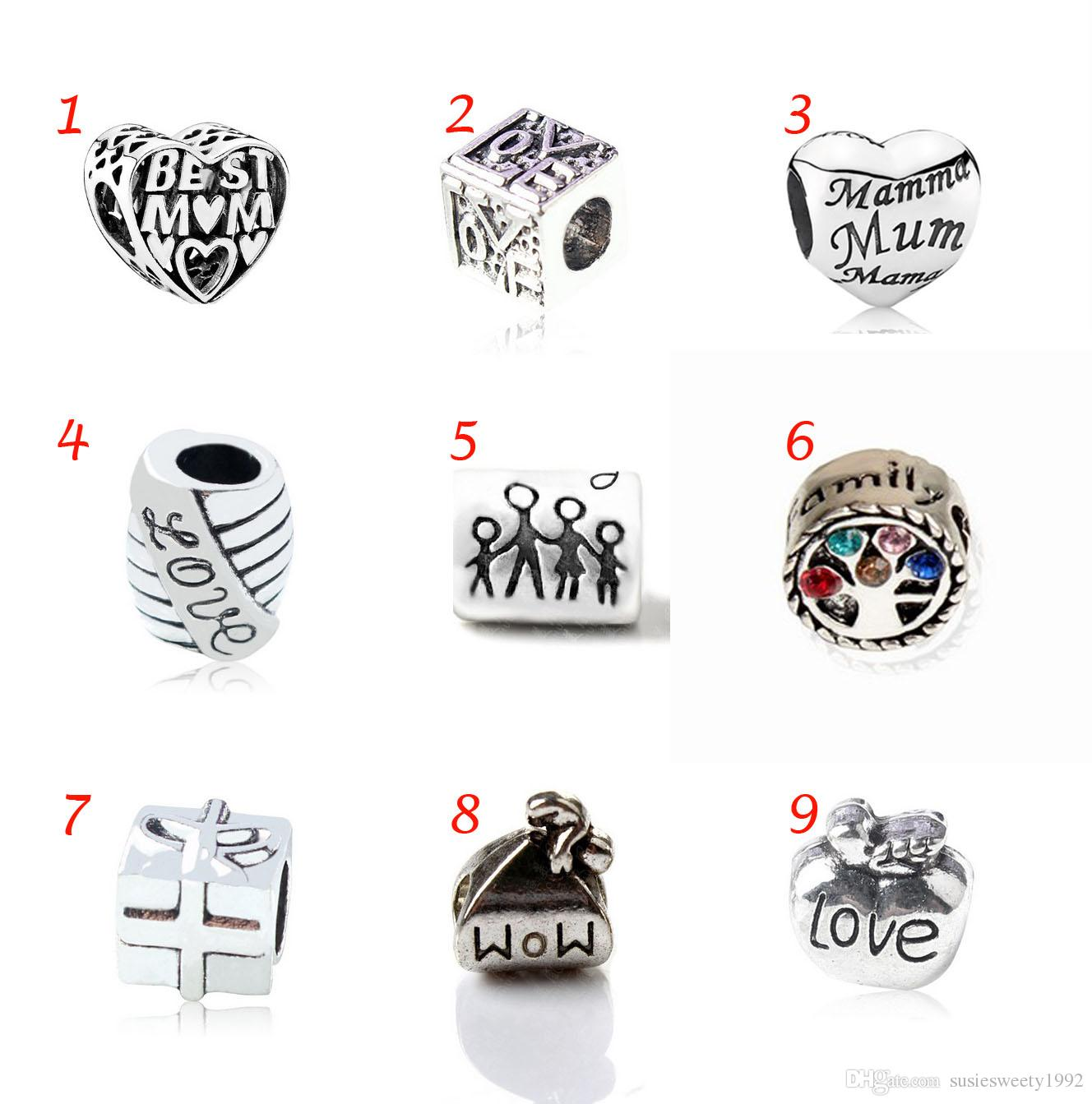 f474a39c1 2019 Red Blue Pink Crystal Silver Apple Family Tree Gift European Charms  Beads For Love Best Mom Baby Mama Charm Bracelets Fit Pandora Bracelet From  ...