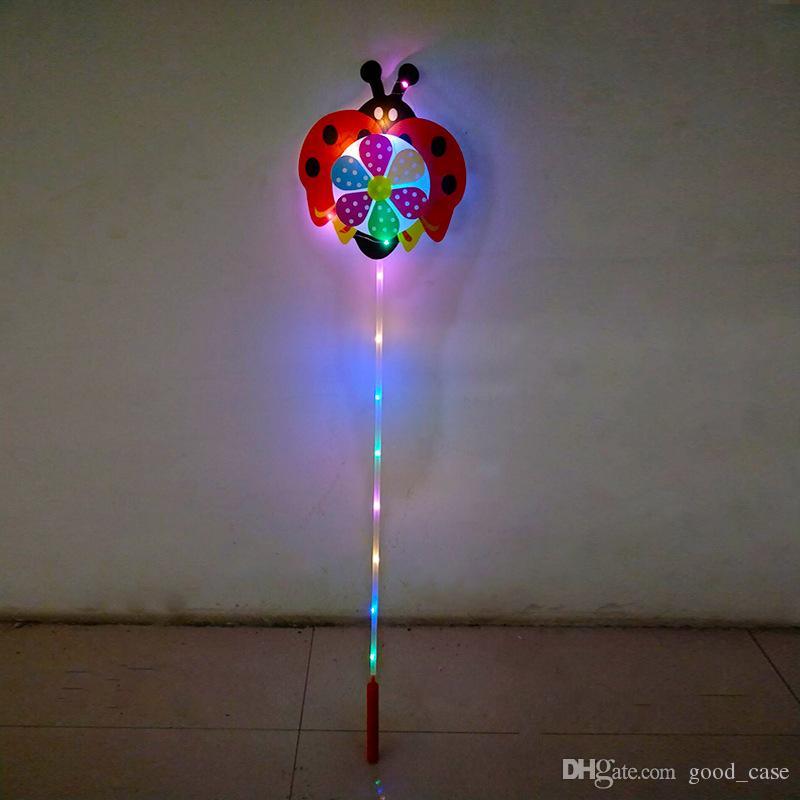 NIÑOS LED de dibujos animados molino de viento juguetes coloridas luces de la noche del molinillo de viento Flor pato perro mascota niños bebé juguete niños niñas ventilador rueda decoración del partido