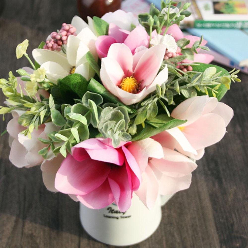 Wholesale artificial magnolia bouquet decorative flowers for home wholesale artificial magnolia bouquet decorative flowers for home garden wedding decoration office party silk fake flowers high quality artificial flowers izmirmasajfo