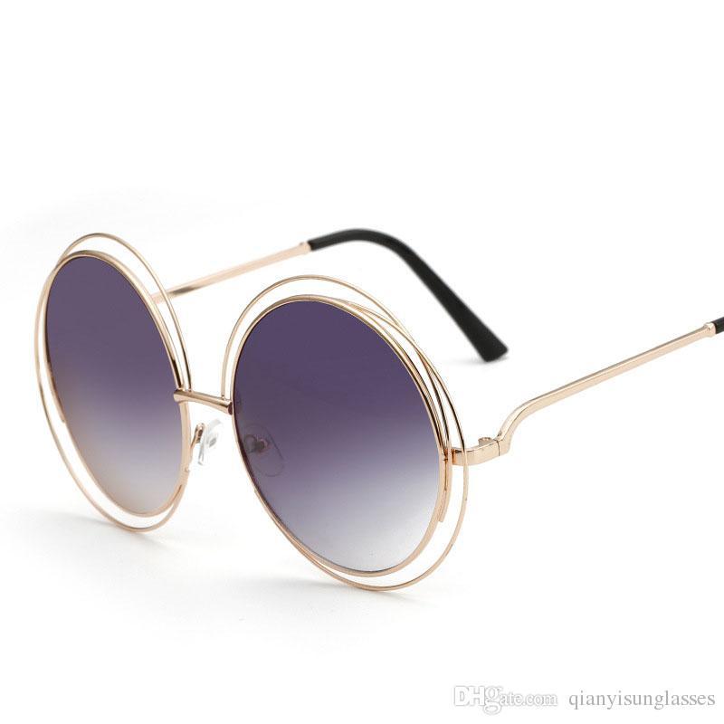 Compre Luxo De Grandes Dimensões Rodada Óculos De Sol Da Moda Feminina Tamanho  Grande Grande Retro Espelho Óculos De Sol Senhora Feminino Designer De  Marca ... 6b3e49cb5d