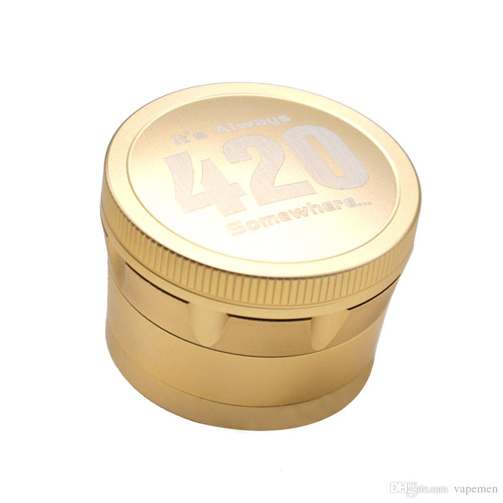 Quality 420 Convex Gold Silver Aluminum Alloy 4parts 63mm 3Colrors Metal Herbal Grinder Spice Crusher Tobacco Dry Herb Grinders