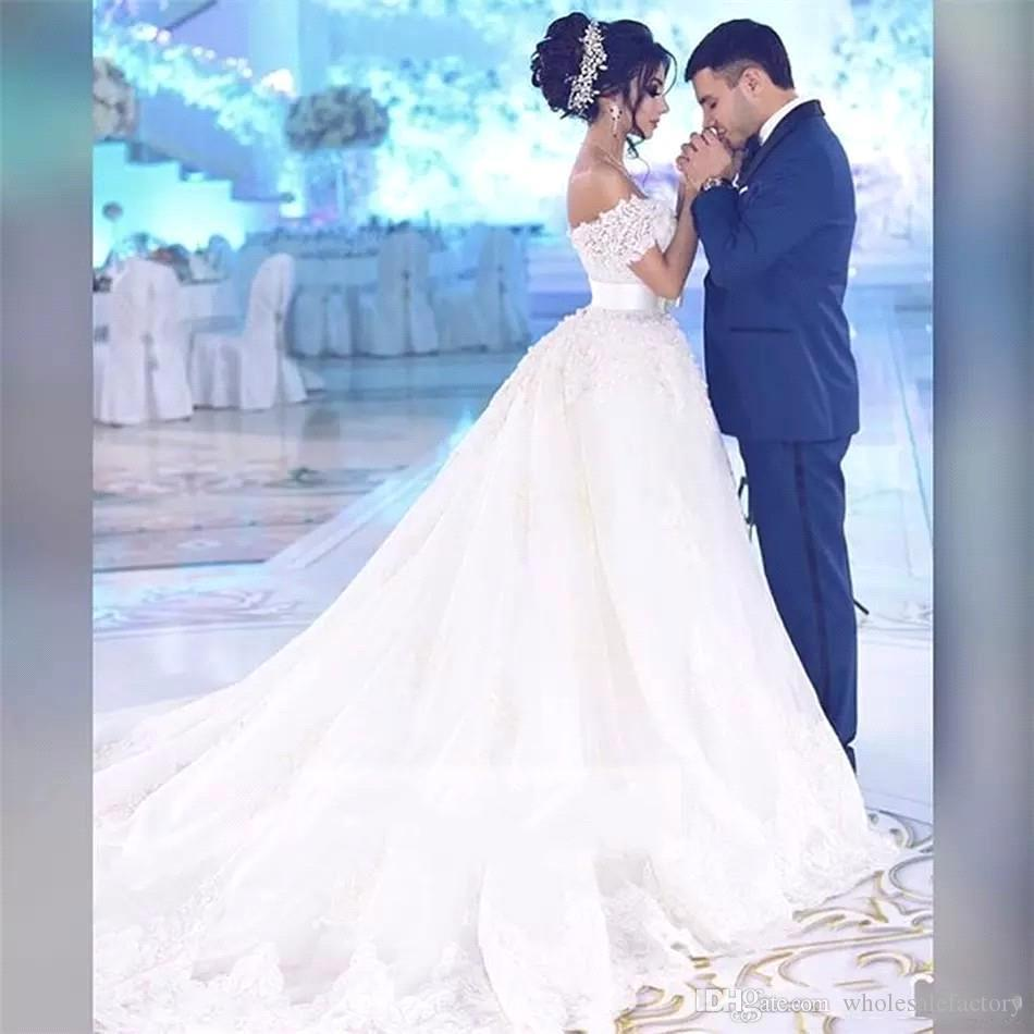 Arabiska spetsar bröllopsklänningar från axelapplikationer pärlor pärlor bröllopsklänning avtagbar kjol plus storlek brudklänningar robe de marie