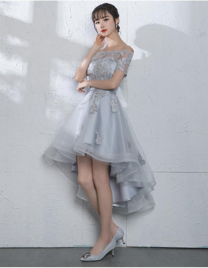 Nueva Llegada Vestido de cóctel de dama Bateau Hi-Lo Vestido de noche Vestidos de Fiesta Mujeres Vestidos de baile Vestido de dama de honor Color rojo plata D04