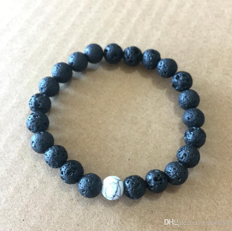 Donna Uomo Naturale Lava Rock Beads Chakra Bracciali Energia di guarigione Pietra Meditazione Mala Bracciale Moda olio essenziale diffusore gioielli