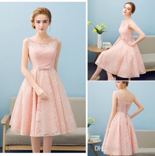 Lace Knee Length Jewel High Quality Real Pictures Custom Made Bridesmaid Dresses for Elegant Woman Formal Gowns Wedding Guest Dresses
