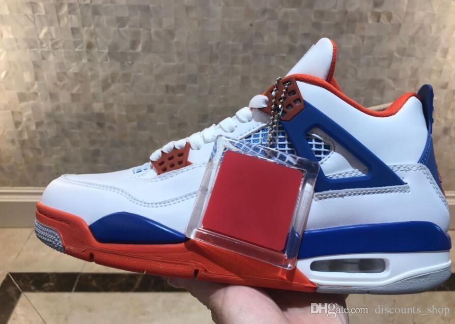 ba74b929afb5 2018 Newest High Quality 4s White Blue Bravo Fear Pack Men Basketball Shoes  Sneakers Bred High Sports Shoes Sizes 8 13 Online Shoes Cheap Shoes From ...