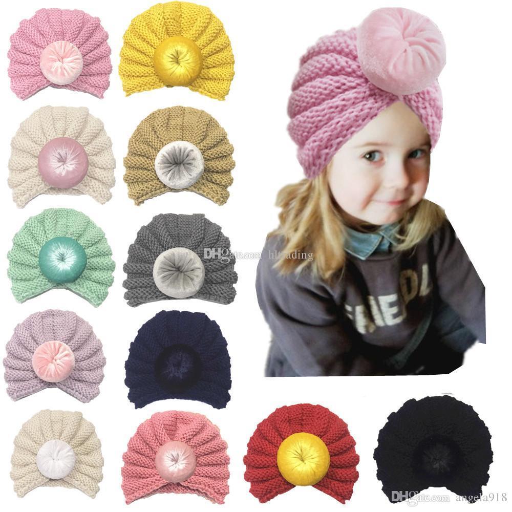 Acheter Bébés Garçons Garçons Noeud Ball Caps Printemps Automne Enfants  Tricot De Laine Chapeaux Infant Toddler Boutique Indian Turban 12 Couleurs  C5524 De ... 659d1810dc4