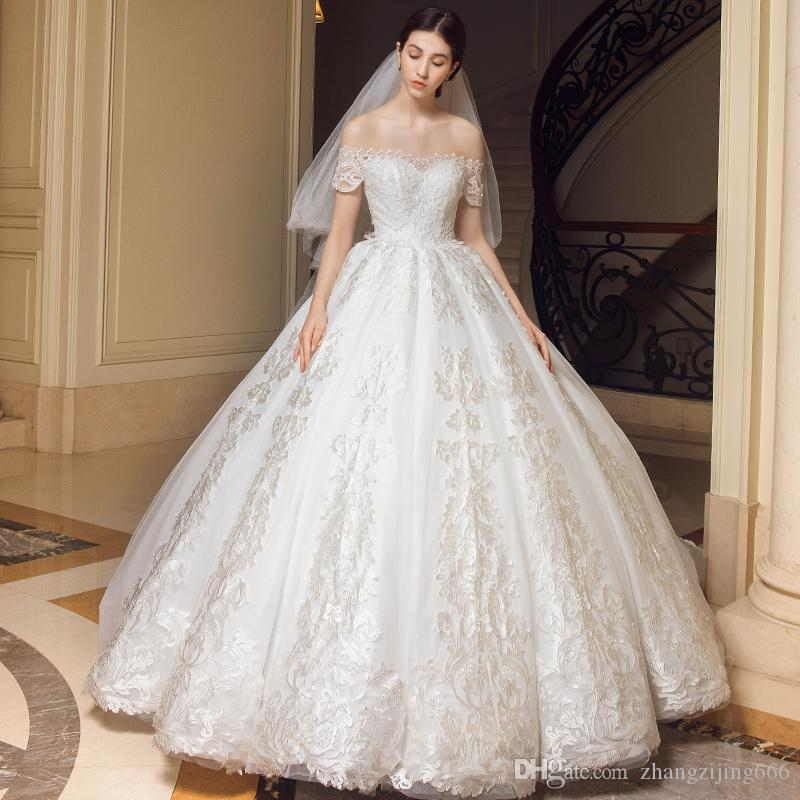 A Shoulder Light Wedding Dress 2018 New European And American Brides ...