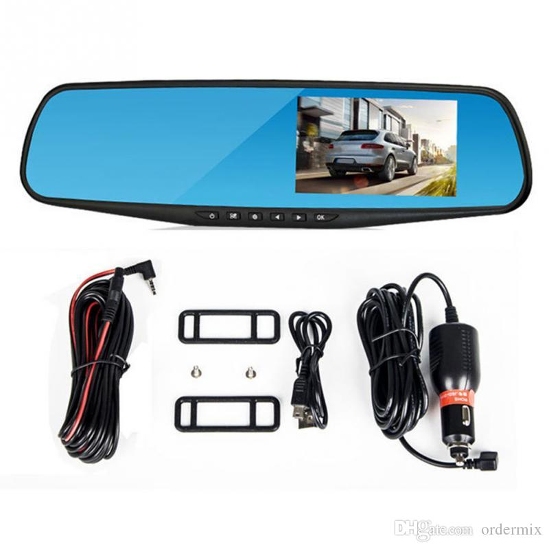 Dual lens Camera rearview mirror 4.3 inch driving recorder 1080P HD night car dvr vision parking monitoring