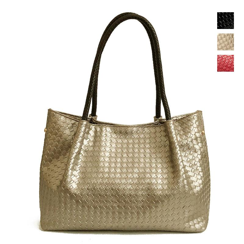 2598e736d27e Gold Knitted Casual Tote Shoulder Bag Female Large Womens Leather Handbags  Ladies With Long Handle Big Black Hand Bags For Women Reusable Shopping Bags  ...