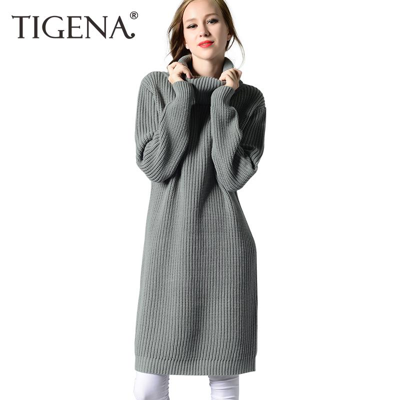 bf580883eb7 2019 TIGENA 2018 Winter Thick Warm Long Sweater Dress Women Turtleneck  Jumper Long Sleeve Knit Pullover And Sweater Female Pull Femme From  Elseeing
