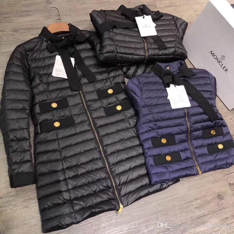 3e5770de8 M Marca Sitio web oficial productos nuevos mujer Chaqueta de media longitud  de plumón Negro / azul marino abajo de parkas Abrigo largo abajo
