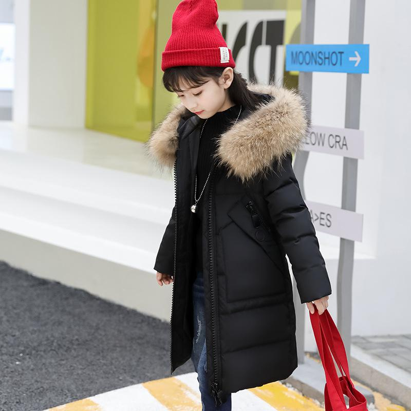 girl winter jackets and coats 2018 kids winter coat solid long setion girls parka coat thicken white duck down children outwear