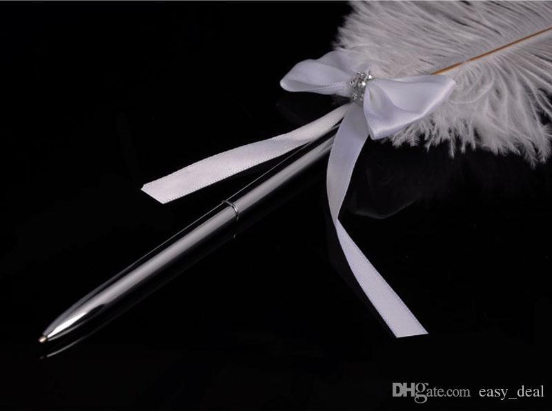 Stylo de signature de mariage Bowknot en acier inoxydable Stylo plume d'autruche blanc avec Diamante 42cm Décoration de fête ZA6216