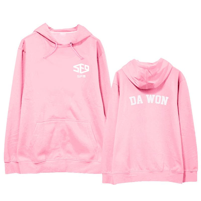 KPOP BTS Bangtan boys Korean version men and women SF9 coat Sweatshirt  Hoodie 2018 New Cotton Pink Letter printing Loose Lovers
