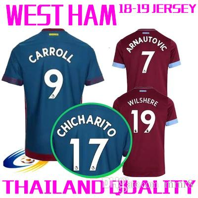 baad7e37e 2018 2019 West Ham United Football Jersey Arnautovic Lanzini Snodgrass Noble  Carroll Chicharito Ayew Home Away Custom 18 19 Soccer Shirt Football Wear  ...