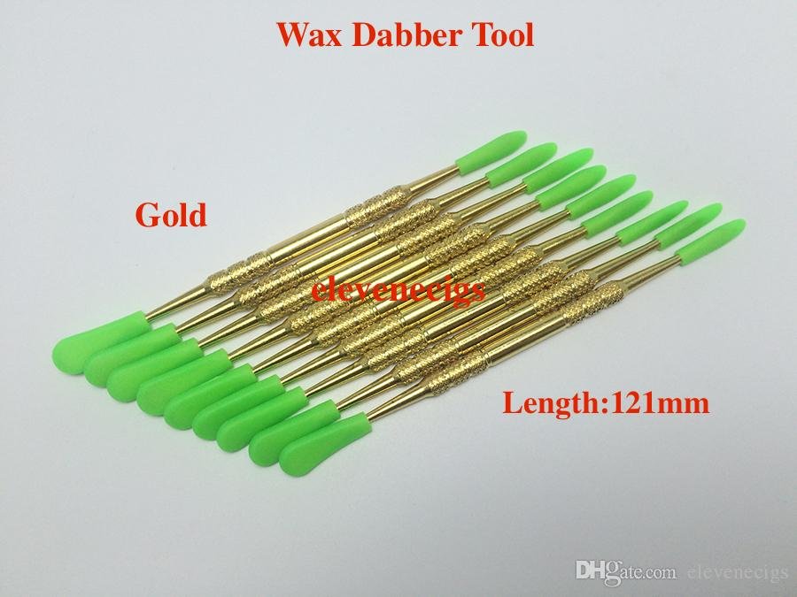 Gold and Stainless Steel Color Wax dabber tool with silicone cap for Wax atomizer dry herb vaporizer pen DHL Free