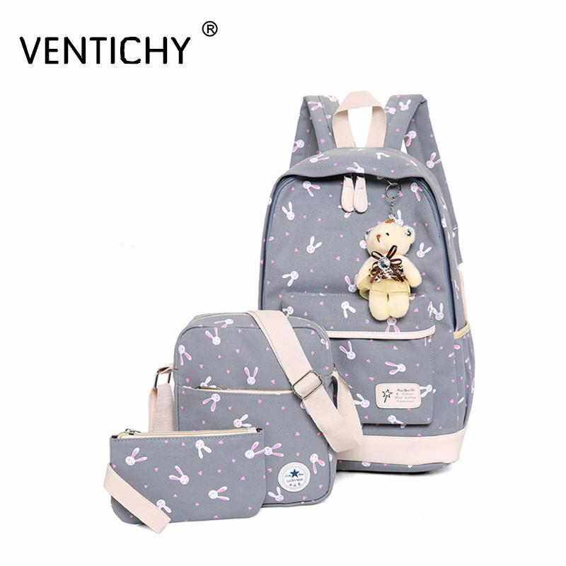 Fashion Composite Bag Preppy Style Backpacks For Teenage Girls High Quality Canvas School Bags Cute Bear 3 Set Backpack Female