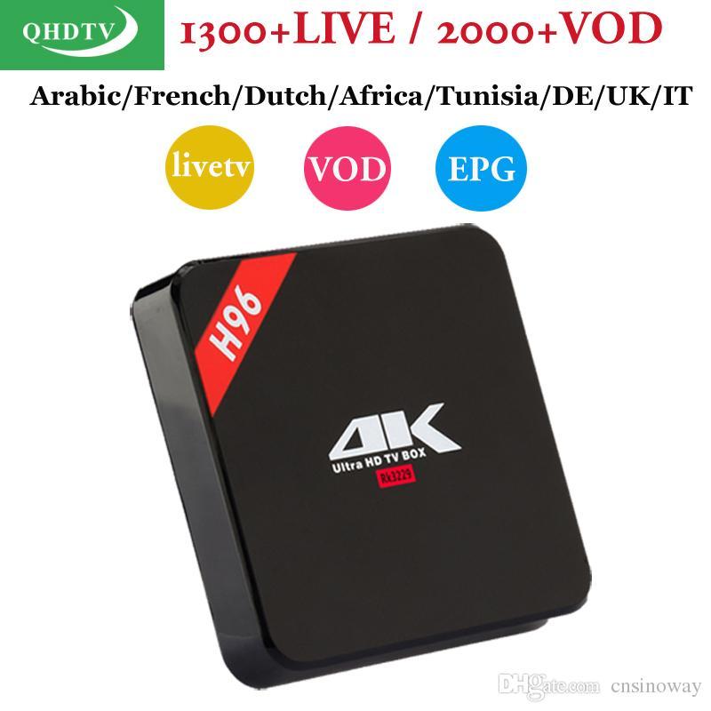 QHDTV Arabic France abonnement IPTV Box H96 RK3229 1+8G Smart Europe  Netherland Africa IP TV belgium android tv box EPG Function m3u