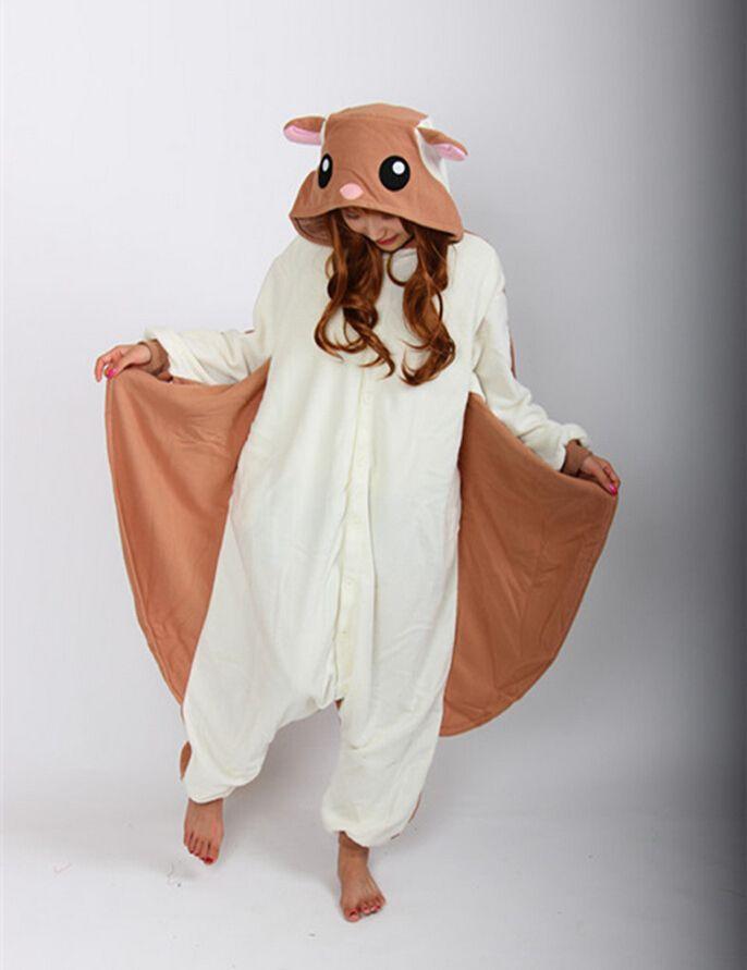 ca651e60e2d7a Kigurumi Adulte Volant Écureuil Pyjamas Dors bien Bande Dessinée Onesie  Unisexe Pyjamas Cosplay Costume Pour Halloween Party