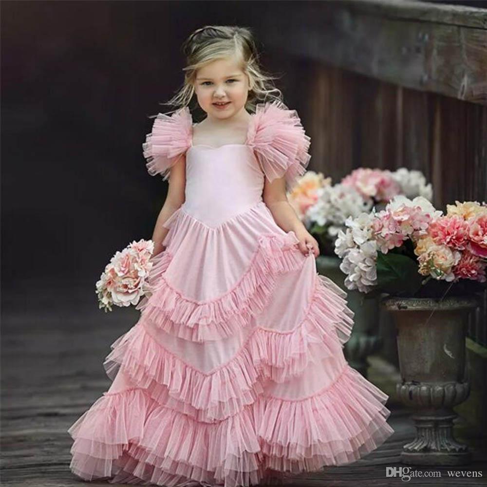 e14ba3d7fe Blush Pink A Line Flower Girl Dresses For Weddings Little Girls Pageant Dress  Spaghetti Strap Ruffles Tulle Child Communion Gowns Dress Bridal Flower Girl  ...