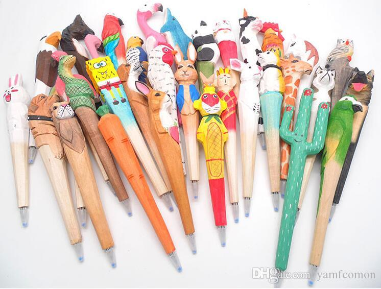 Animal Wooden carving creative ballpoint pen wood Ball point pens handmade  sculpture student ball-point free shipping