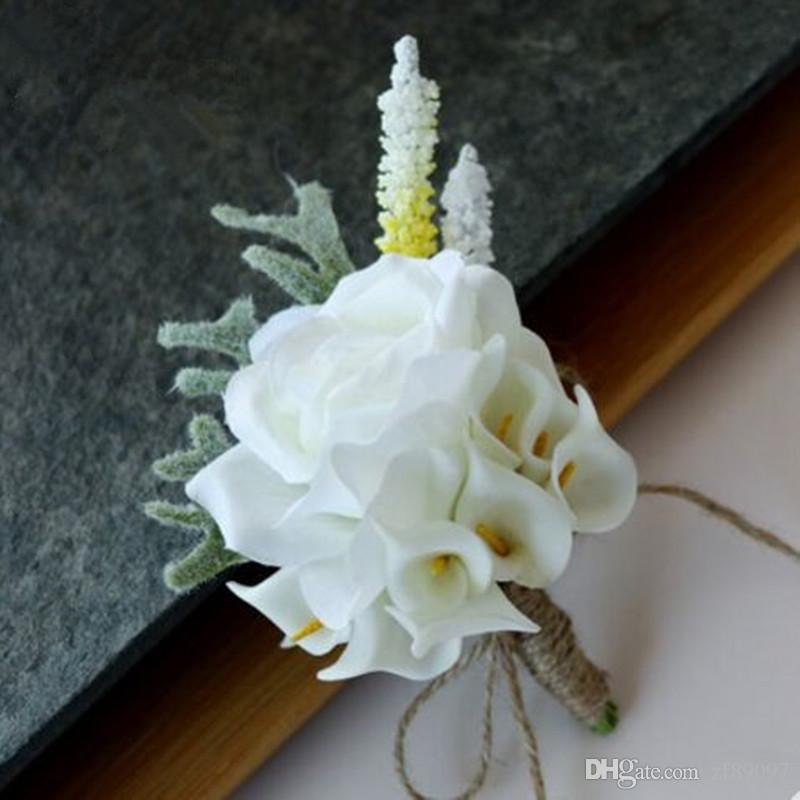 Luxurious pe calla corsage flower wedding flowers for groom flower luxurious pe calla corsage flower wedding flowers for groom flower decoration white boutonniere groom boutonniere for festival boutonniere mariage wedding mightylinksfo