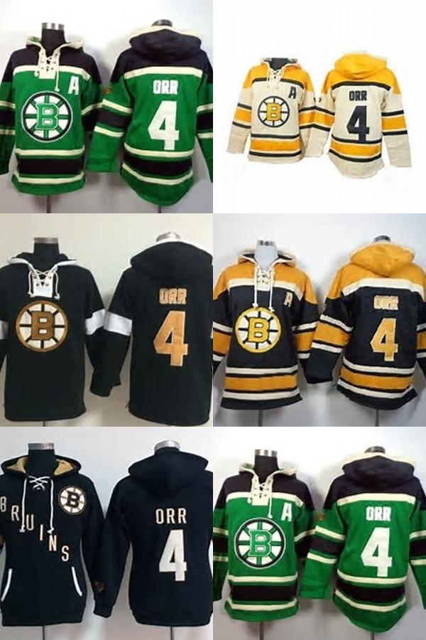 2019 Factory Outlet Mens Boston Bruins 4 Bobby Orr Green Beige Black Yellow  Best Quality Ice Hockey Hoodies Sweaters Accept From Cbssport faecd9023