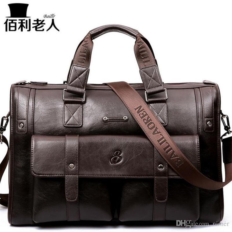01445d5cf3 BailiLaoRen Business Briefcase Leather Man 14 15 Laptop Handbags Large  Capacity Travel Men S Messenger Crossbody Bag P083 Garment Bags Leather  Purse From ...