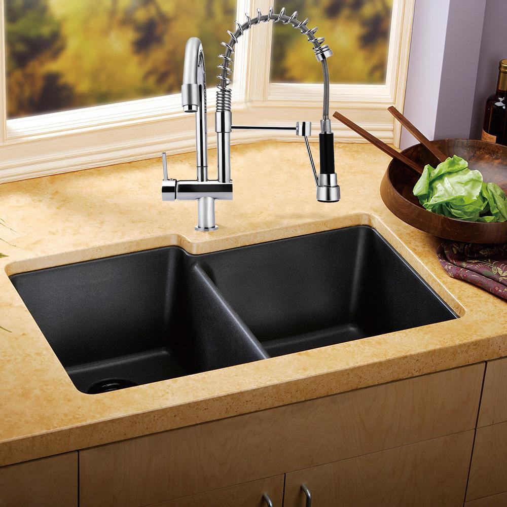2018 Deck Mounted Double Swivel Pull Down Spray Kitchen Faucet Mixer ...