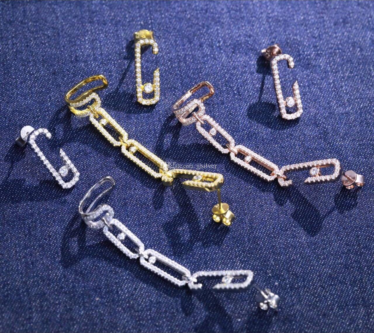 Frauen Schmuck 925 Sterling Silber boucle d'oreille femme 2017 Geometrische Beweglichen stein Ohrstulpe Ohrringe 3A Zirkonia Einhorn Pin Asymmetrische