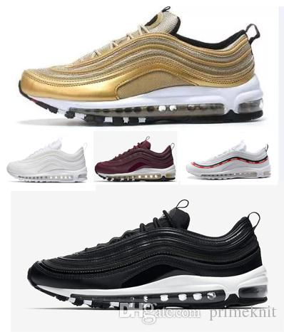 97 OG Tripel White Metallic Gold Silver Bullet 97 Best quality WHITE 3M Premium Running Shoes Men Women Free shipping sale cheap real authentic wholesale price footaction cheap online B6TJ6hr